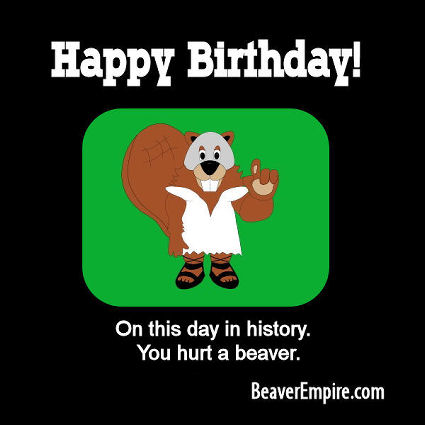 Gladiator Beaver Happy Birthday ECard 2