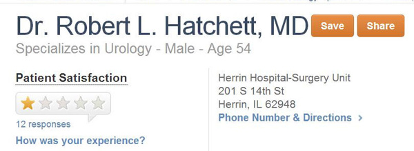 Doctor Dick Hatchett?  Urologist.